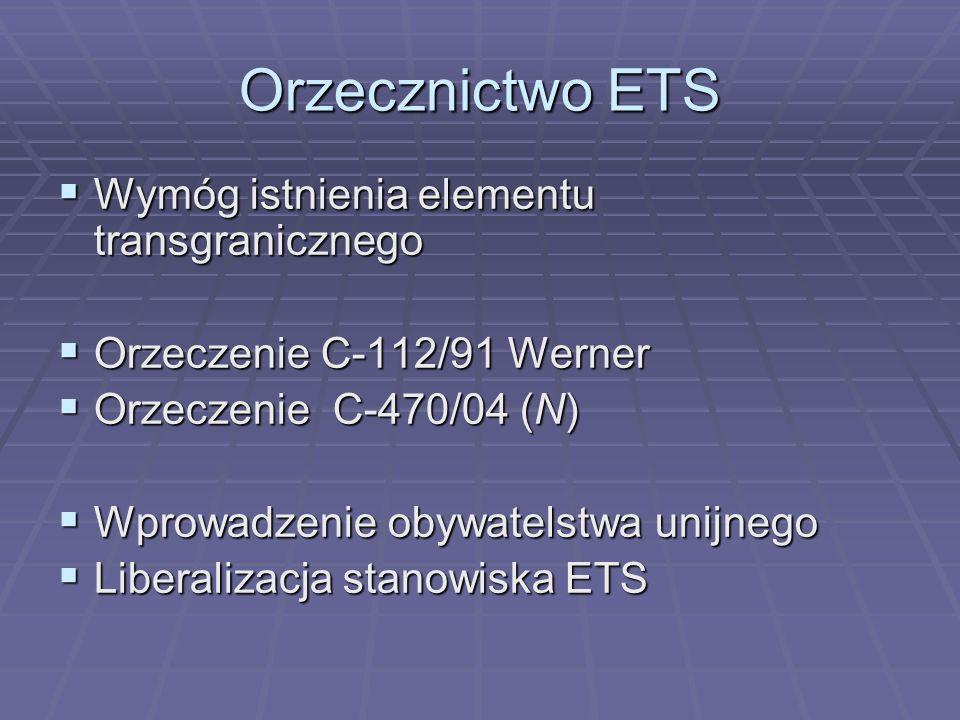 Orzecznictwo ETS Test podatkowej dyskryminacji sprzecznej z prawem wspólnotowym ma następujące elementy : Test podatkowej dyskryminacji sprzecznej z prawem wspólnotowym ma następujące elementy : Określenie, czy podatnik znajduje się w zakresie podmiotowo-przedmiotowym TWE, Określenie, czy podatnik znajduje się w zakresie podmiotowo-przedmiotowym TWE, Określenie, czy przepisy prawa podatkowego nakładają obowiązek podatkowy w sposób różnicujący wysokość zobowiązania podatkowego Określenie, czy przepisy prawa podatkowego nakładają obowiązek podatkowy w sposób różnicujący wysokość zobowiązania podatkowego Określenie, czy wskazane zróżnicowanie następuje na podstawie zakazanych w TWE kryteriów Określenie, czy wskazane zróżnicowanie następuje na podstawie zakazanych w TWE kryteriów Określenie, czy różne traktowanie może być usprawiedliwione, a jeśli tak, czy jest stosowane w sposób proporcjonalny Określenie, czy różne traktowanie może być usprawiedliwione, a jeśli tak, czy jest stosowane w sposób proporcjonalny