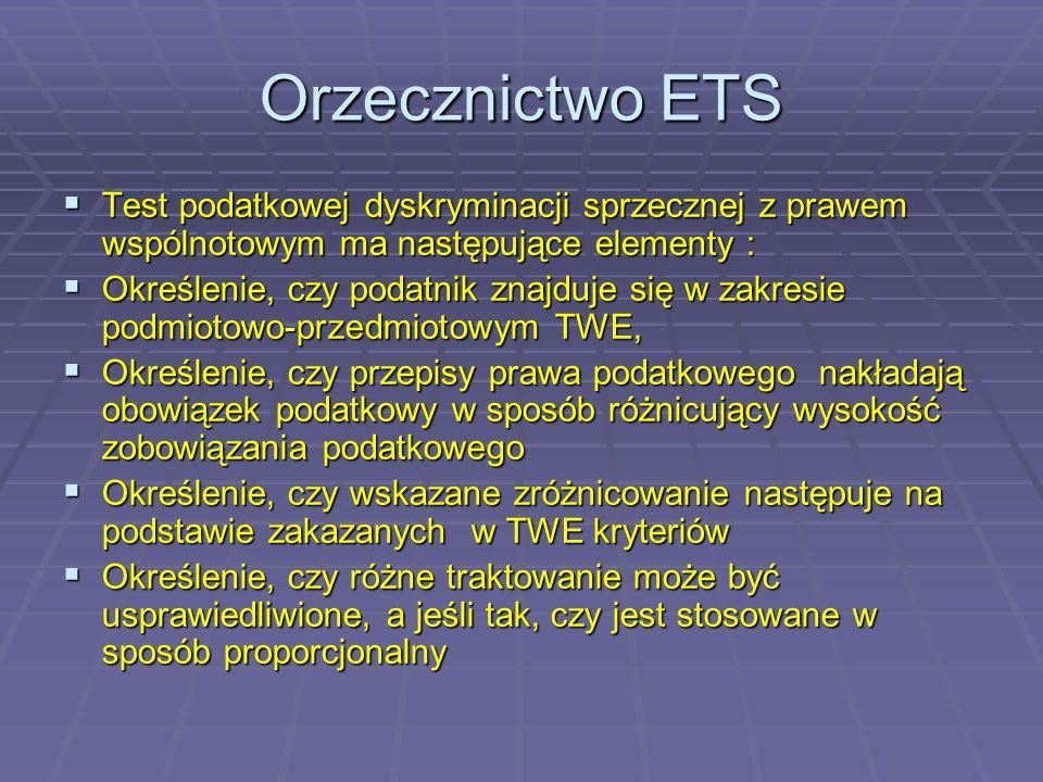 Orzecznictwo ETS 2) jest sprzeczne wykluczenie takiego wyrównania, gdy spółka zależna w państwie jej siedziby albo nie miała możliwości pokrycia straty albo taką możliwość wyczerpała (np.
