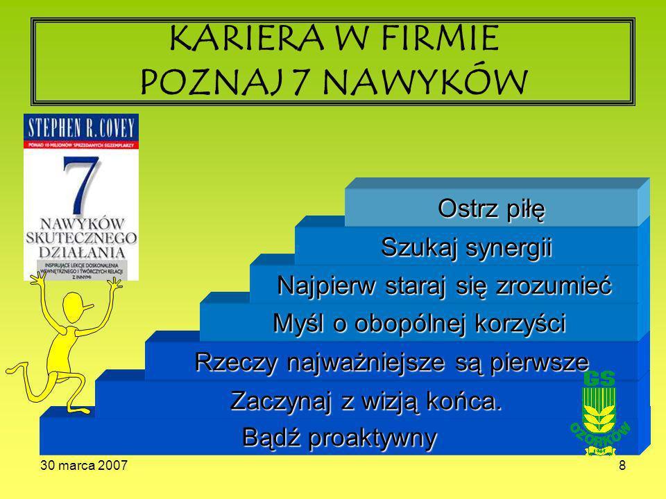 30 marca 20078 KARIERA W FIRMIE POZNAJ 7 NAWYKÓW Bądź proaktywny Zaczynaj z wizją końca.