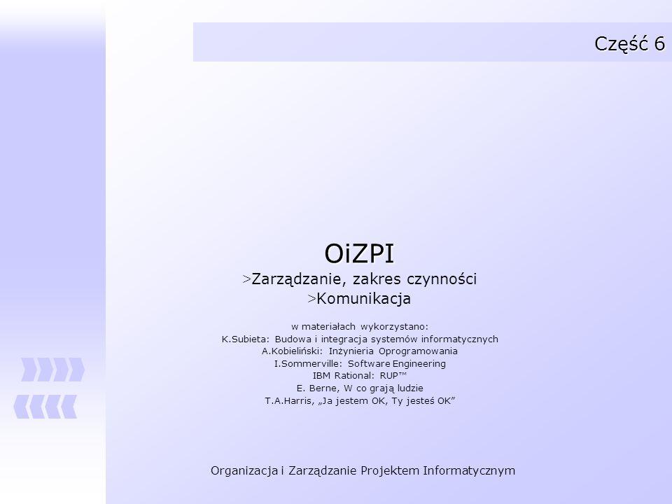 Organizacja i Zarządzanie Projektem Informatycznym Część 6 OiZPI > Zarządzanie, zakres czynności > Komunikacja w materiałach wykorzystano: K.Subieta: