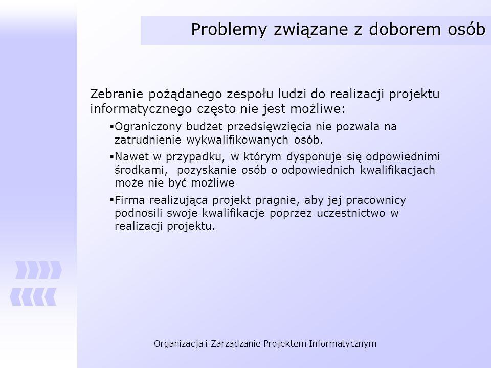 Organizacja i Zarządzanie Projektem Informatycznym Problemy związane z doborem osób Zebranie pożądanego zespołu ludzi do realizacji projektu informaty
