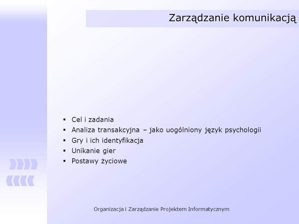 Organizacja i Zarządzanie Projektem Informatycznym Zarządzanie komunikacją Cel i zadania Analiza transakcyjna – jako uogólniony język psychologii Gry