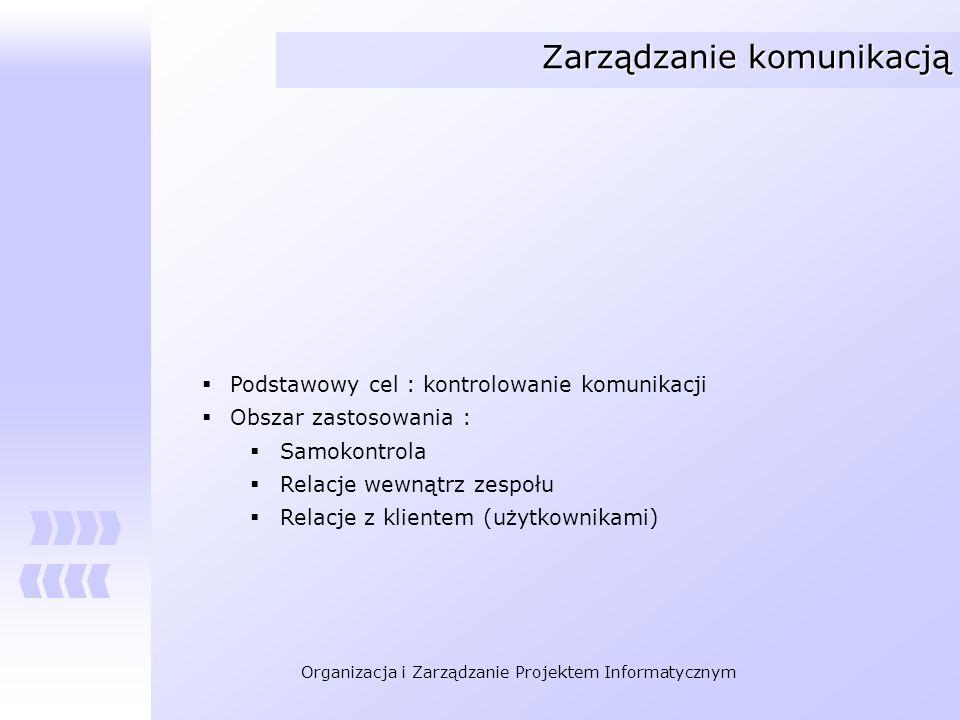 Organizacja i Zarządzanie Projektem Informatycznym Zarządzanie komunikacją Podstawowy cel : kontrolowanie komunikacji Obszar zastosowania : Samokontro