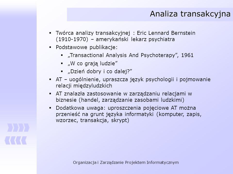 Organizacja i Zarządzanie Projektem Informatycznym Analiza transakcyjna Twórca analizy transakcyjnej : Eric Lennard Bernstein (1910-1970) – amerykańsk