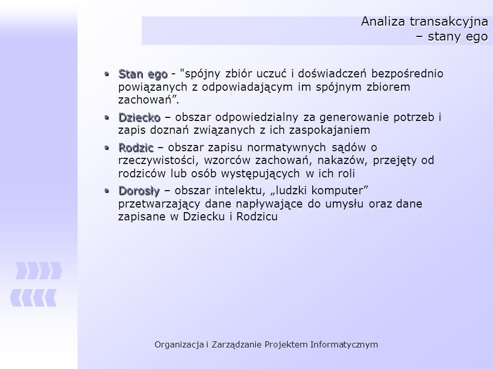 Organizacja i Zarządzanie Projektem Informatycznym Analiza transakcyjna – stany ego Stan ego Stan ego -