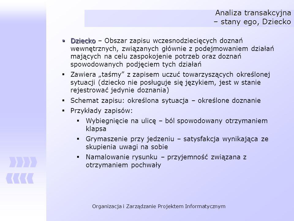 Organizacja i Zarządzanie Projektem Informatycznym Analiza transakcyjna – stany ego, Dziecko Dziecko Dziecko – Obszar zapisu wczesnodziecięcych doznań