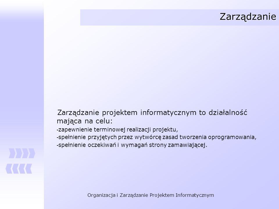 Organizacja i Zarządzanie Projektem Informatycznym Zarządzanie Zarządzanie projektem informatycznym to działalność mająca na celu: - zapewnienie termi