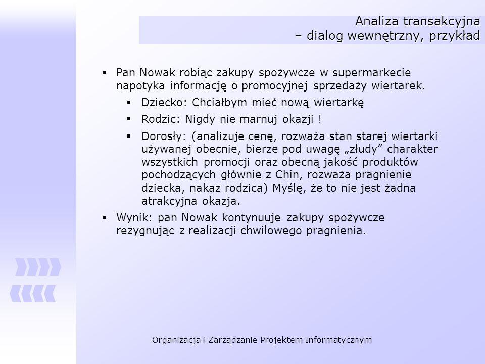 Organizacja i Zarządzanie Projektem Informatycznym Analiza transakcyjna – dialog wewnętrzny, przykład Pan Nowak robiąc zakupy spożywcze w supermarkeci
