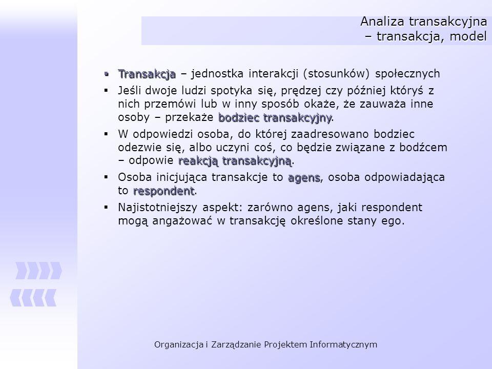 Organizacja i Zarządzanie Projektem Informatycznym Analiza transakcyjna – transakcja, model Transakcja Transakcja – jednostka interakcji (stosunków) s
