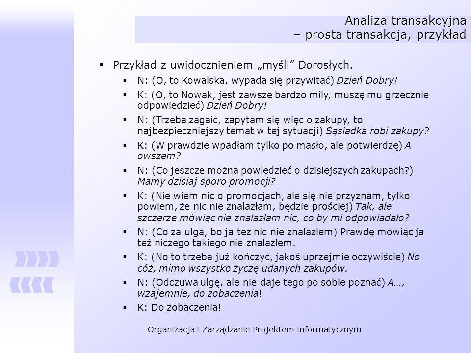 Organizacja i Zarządzanie Projektem Informatycznym Analiza transakcyjna – prosta transakcja, przykład Przykład z uwidocznieniem myśli Dorosłych. N: (O