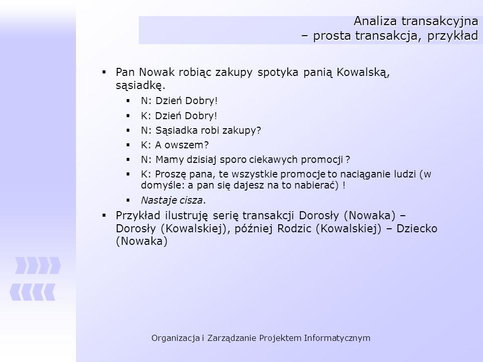 Organizacja i Zarządzanie Projektem Informatycznym Analiza transakcyjna – prosta transakcja, przykład Pan Nowak robiąc zakupy spotyka panią Kowalską,