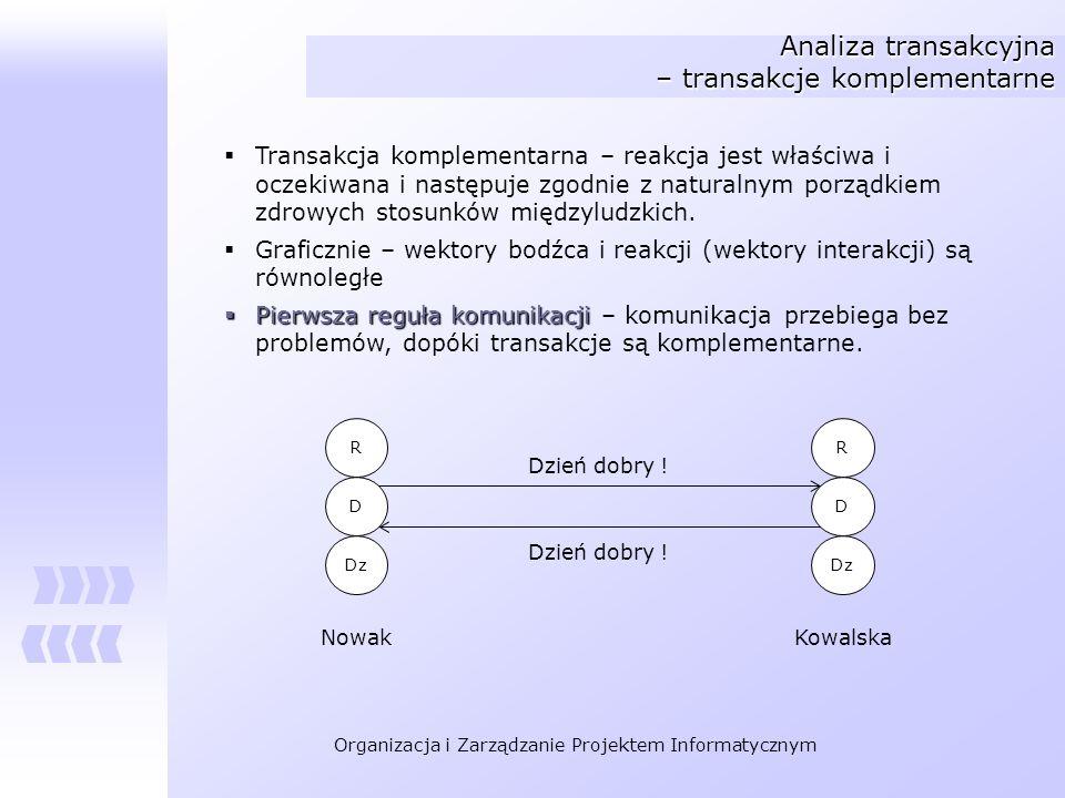 Organizacja i Zarządzanie Projektem Informatycznym Analiza transakcyjna – transakcje komplementarne Transakcja komplementarna – reakcja jest właściwa