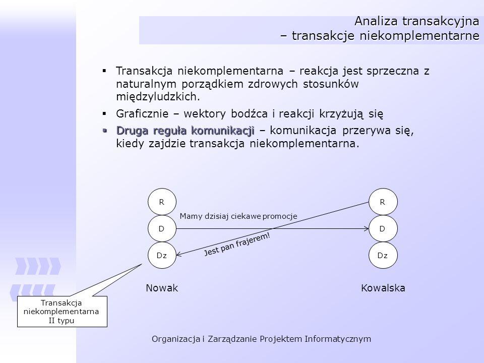 Organizacja i Zarządzanie Projektem Informatycznym Analiza transakcyjna – transakcje niekomplementarne Transakcja niekomplementarna – reakcja jest spr