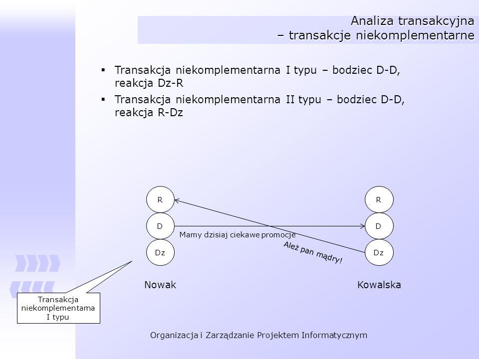 Organizacja i Zarządzanie Projektem Informatycznym Analiza transakcyjna – transakcje niekomplementarne Transakcja niekomplementarna I typu – bodziec D