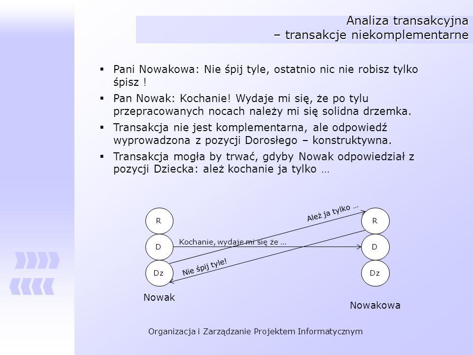 Organizacja i Zarządzanie Projektem Informatycznym Analiza transakcyjna – transakcje niekomplementarne Pani Nowakowa: Nie śpij tyle, ostatnio nic nie