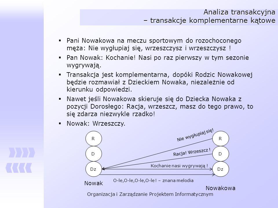 Organizacja i Zarządzanie Projektem Informatycznym Analiza transakcyjna – transakcje komplementarne kątowe Pani Nowakowa na meczu sportowym do rozocho