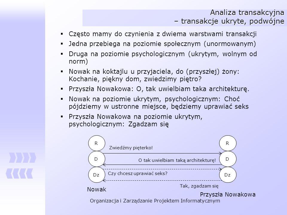 Organizacja i Zarządzanie Projektem Informatycznym Analiza transakcyjna – transakcje ukryte, podwójne Często mamy do czynienia z dwiema warstwami tran
