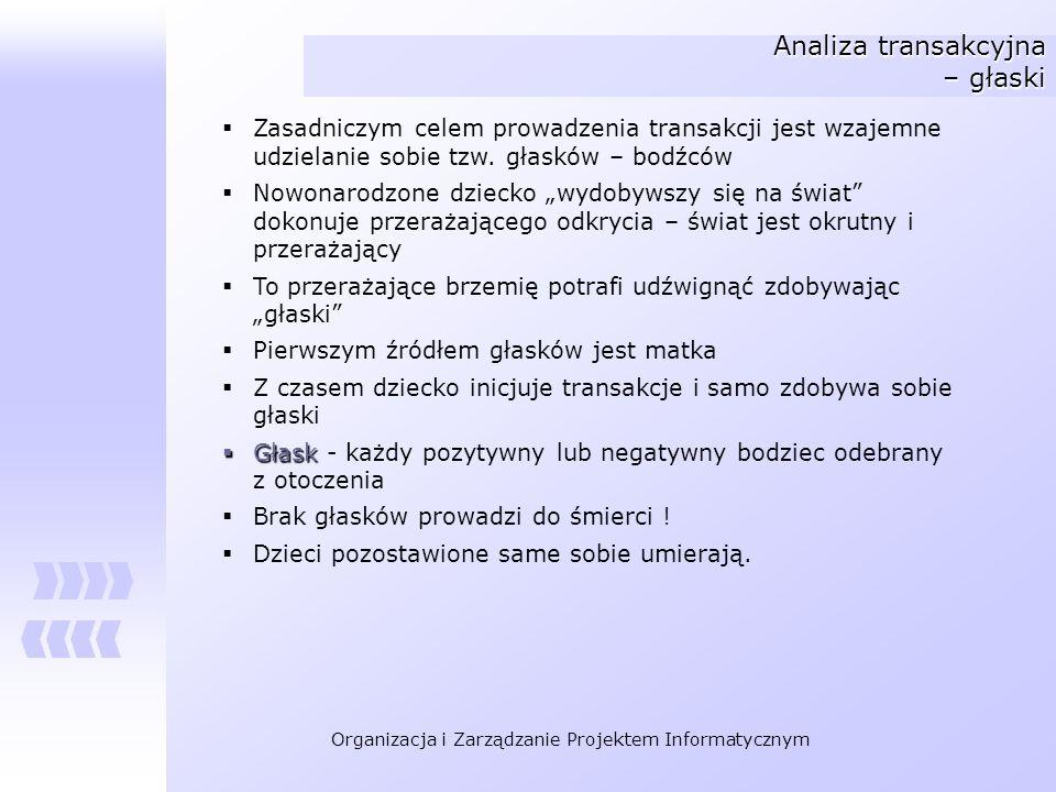 Organizacja i Zarządzanie Projektem Informatycznym Analiza transakcyjna – głaski Zasadniczym celem prowadzenia transakcji jest wzajemne udzielanie sob