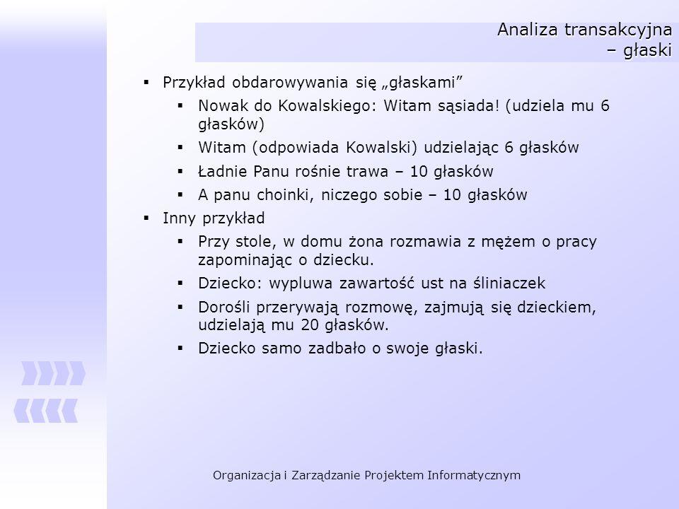 Organizacja i Zarządzanie Projektem Informatycznym Analiza transakcyjna – głaski Przykład obdarowywania się głaskami Nowak do Kowalskiego: Witam sąsia