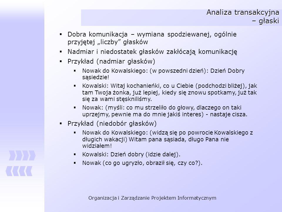 Organizacja i Zarządzanie Projektem Informatycznym Analiza transakcyjna – głaski Dobra komunikacja – wymiana spodziewanej, ogólnie przyjętej liczby gł