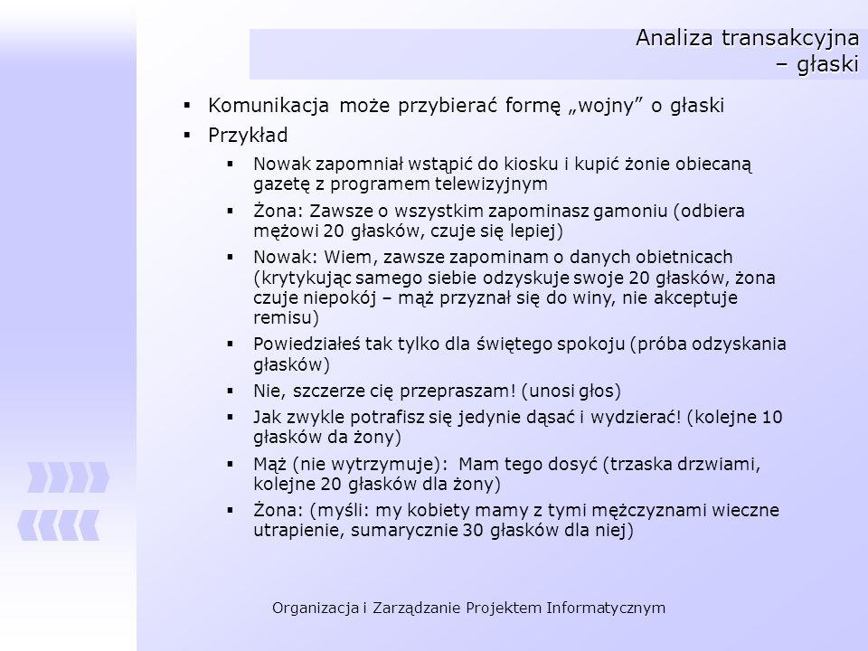 Organizacja i Zarządzanie Projektem Informatycznym Analiza transakcyjna – głaski Komunikacja może przybierać formę wojny o głaski Przykład Nowak zapom