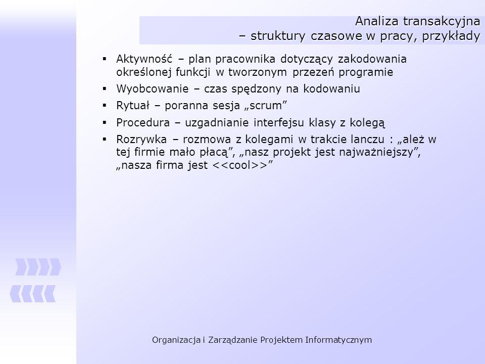 Organizacja i Zarządzanie Projektem Informatycznym Analiza transakcyjna – struktury czasowe w pracy, przykłady Aktywność – plan pracownika dotyczący z