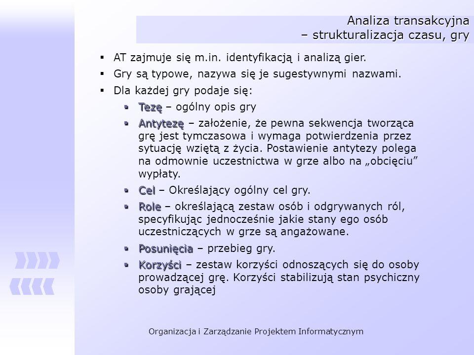 Organizacja i Zarządzanie Projektem Informatycznym Analiza transakcyjna – strukturalizacja czasu, gry AT zajmuje się m.in. identyfikacją i analizą gie