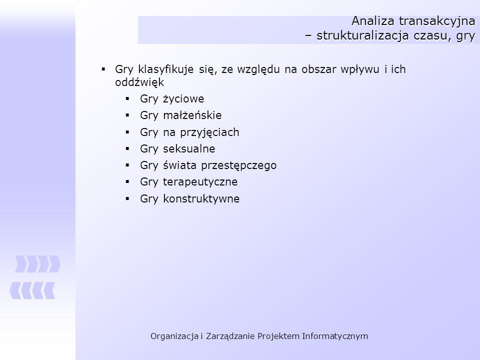 Organizacja i Zarządzanie Projektem Informatycznym Analiza transakcyjna – strukturalizacja czasu, gry Gry klasyfikuje się, ze względu na obszar wpływu