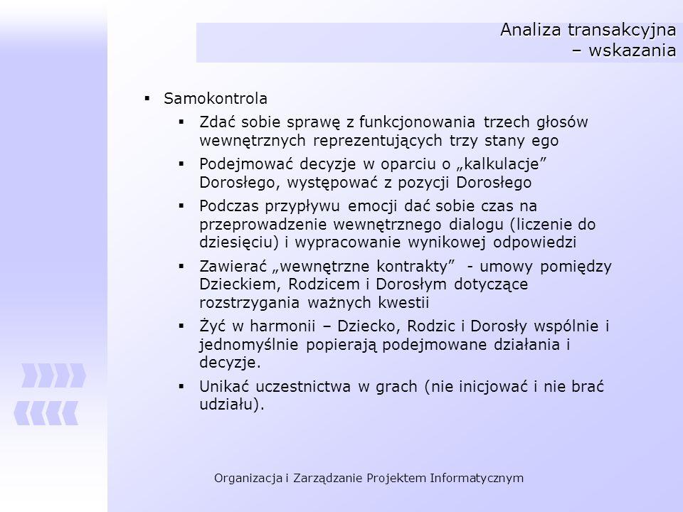 Organizacja i Zarządzanie Projektem Informatycznym Analiza transakcyjna – wskazania Samokontrola Zdać sobie sprawę z funkcjonowania trzech głosów wewn
