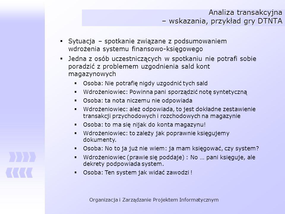 Organizacja i Zarządzanie Projektem Informatycznym Analiza transakcyjna – wskazania, przykład gry DTNTA Sytuacja – spotkanie związane z podsumowaniem
