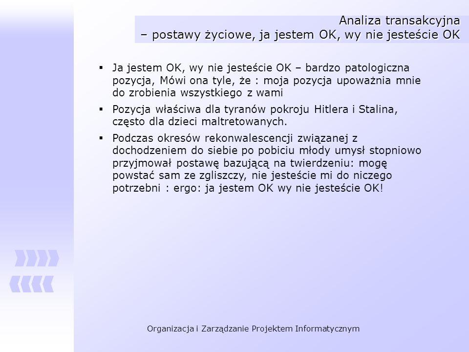 Organizacja i Zarządzanie Projektem Informatycznym Analiza transakcyjna – postawy życiowe, ja jestem OK, wy nie jesteście OK Ja jestem OK, wy nie jest