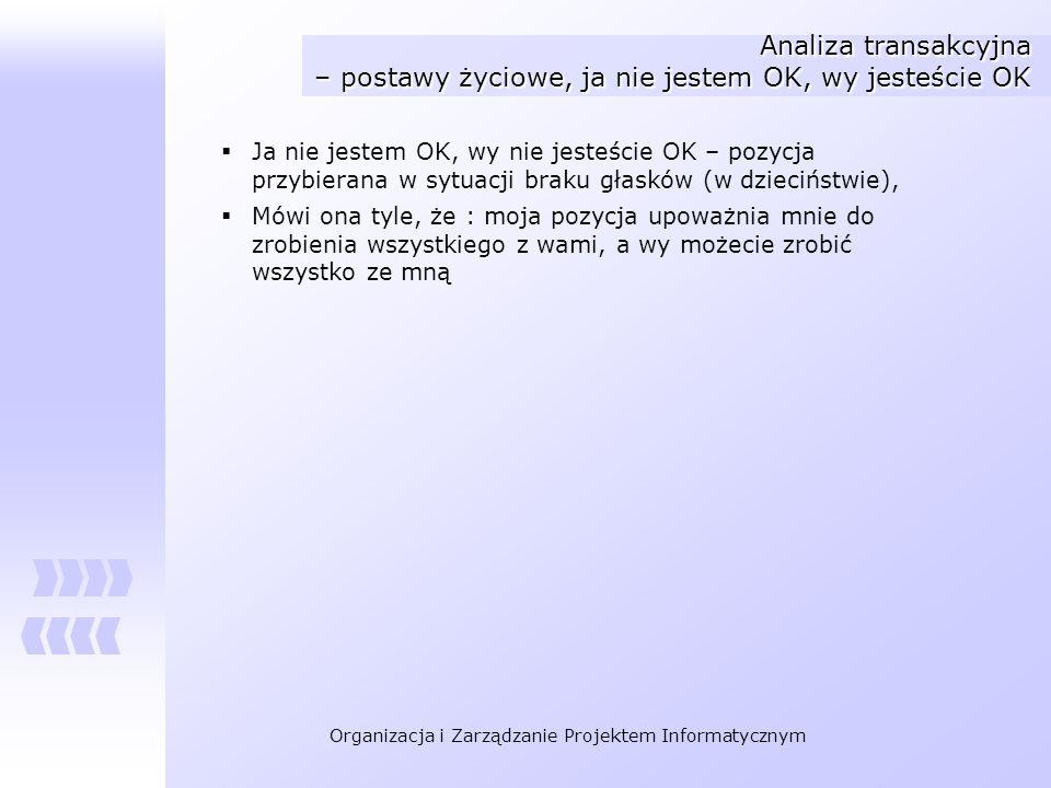 Organizacja i Zarządzanie Projektem Informatycznym Analiza transakcyjna – postawy życiowe, ja nie jestem OK, wy jesteście OK Ja nie jestem OK, wy nie