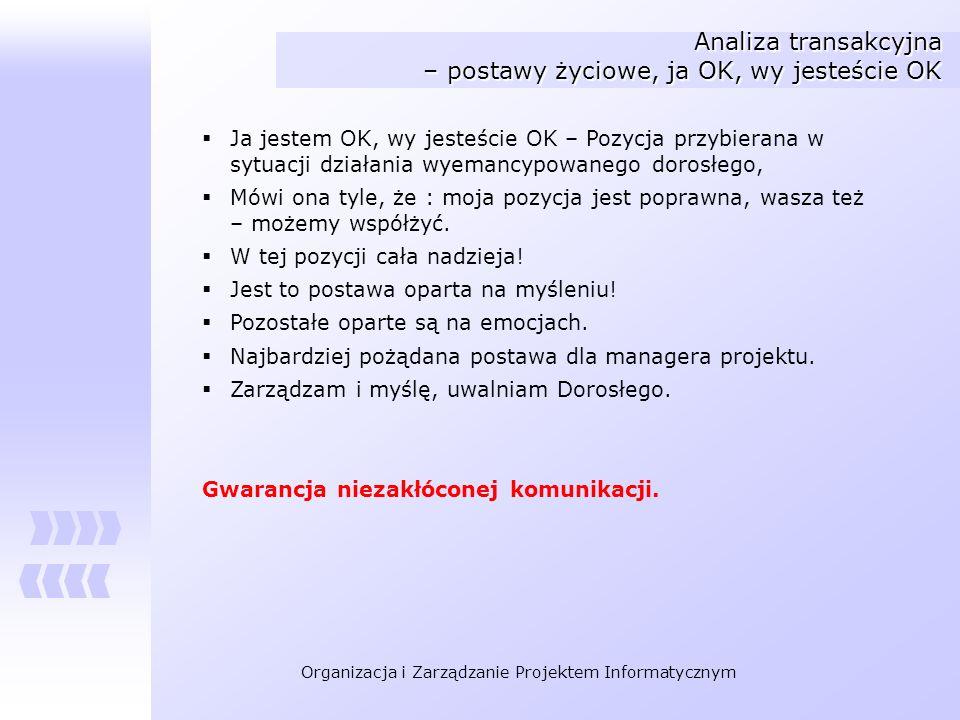 Organizacja i Zarządzanie Projektem Informatycznym Analiza transakcyjna – postawy życiowe, ja OK, wy jesteście OK Ja jestem OK, wy jesteście OK – Pozy
