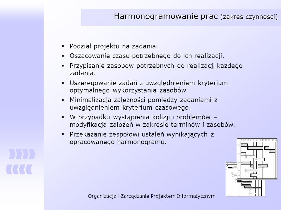 Organizacja i Zarządzanie Projektem Informatycznym Harmonogramowanie prac (zakres czynności) Podział projektu na zadania. Oszacowanie czasu potrzebneg