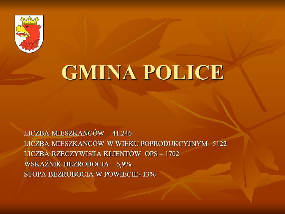 GMINA POLICE LICZBA MIESZKANCÓW – 41.246 LICZBA MIESZKANCÓW W WIEKU POPRODUKCYJNYM- 5122 LICZBA RZECZYWISTA KLIENTÓW OPS – 1702 WSKAŹNIK BEZROBOCIA –