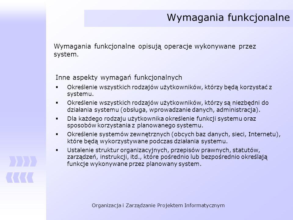 Organizacja i Zarządzanie Projektem Informatycznym Wymagania funkcjonalne Wymagania funkcjonalne opisują operacje wykonywane przez system. Inne aspekt