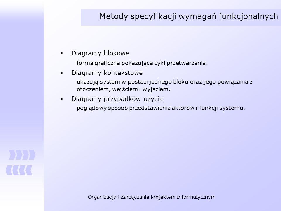 Organizacja i Zarządzanie Projektem Informatycznym Metody specyfikacji wymagań funkcjonalnych Diagramy blokowe forma graficzna pokazująca cykl przetwa