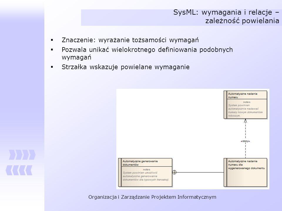 Organizacja i Zarządzanie Projektem Informatycznym SysML: wymagania i relacje – zależność powielania Znaczenie: wyrażanie tożsamości wymagań Pozwala u