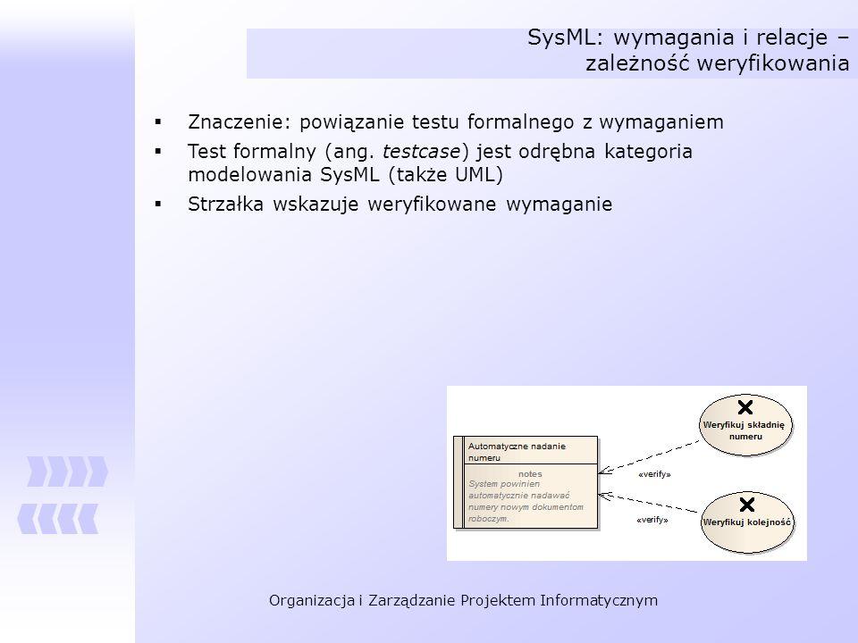 Organizacja i Zarządzanie Projektem Informatycznym SysML: wymagania i relacje – zależność weryfikowania Znaczenie: powiązanie testu formalnego z wymag
