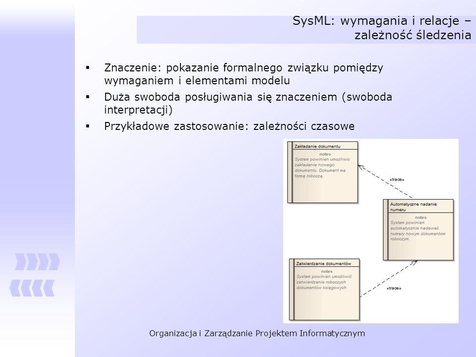 Organizacja i Zarządzanie Projektem Informatycznym SysML: wymagania i relacje – zależność śledzenia Znaczenie: pokazanie formalnego związku pomiędzy w