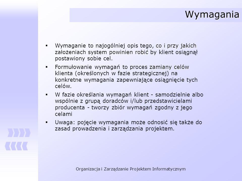 Organizacja i Zarządzanie Projektem Informatycznym Metody rozpoznania wymagań Wywiady i przeglądy.
