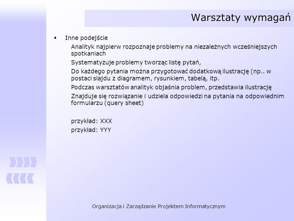Organizacja i Zarządzanie Projektem Informatycznym Warsztaty wymagań Inne podejście Analityk najpierw rozpoznaje problemy na niezależnych wcześniejszy