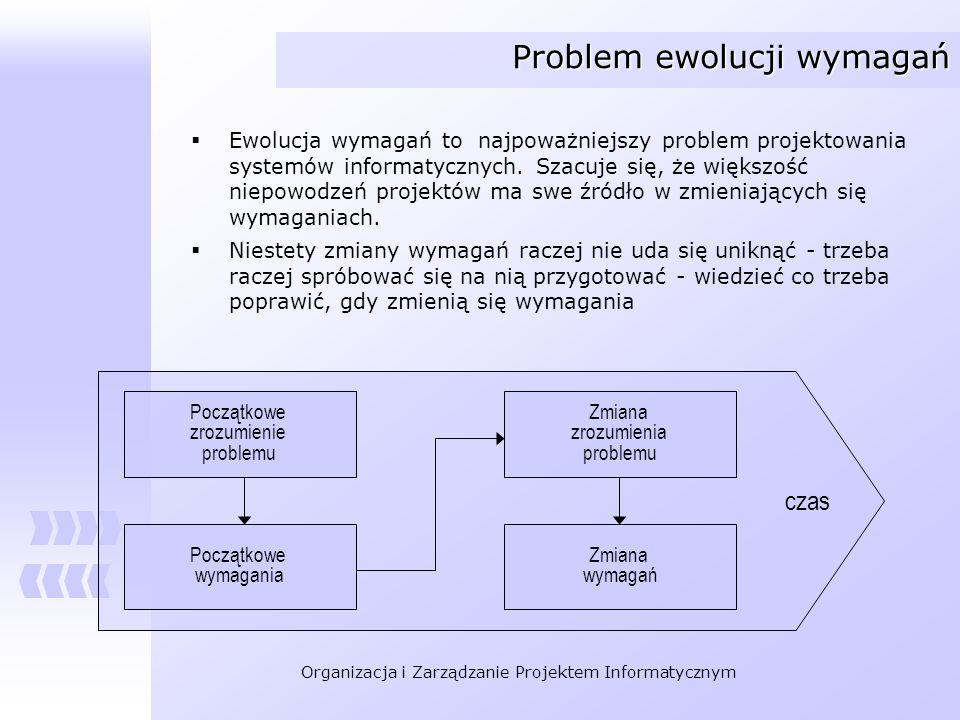 Organizacja i Zarządzanie Projektem Informatycznym Problem ewolucji wymagań Należy uznać, że ewolucja wymagań jest naturalną właściwością procesu analizy, w którym wiedza o rozpatrywanym problemie systematycznie wzrasta Im dłużej zajmujemy się jakimś zagadnieniem, tym większa jest nasza wiedza, tym większa jest świadomość użytkowników Należy przewidzieć mechanizmy pozwalające kontrolować proces ewolucji wymagań, Nie należy takiego problemu wykluczać Kategoryzacja skali zmian – pomocny mechanizm Poszczególne kategorie odpowiadają zmianom o różnej skali