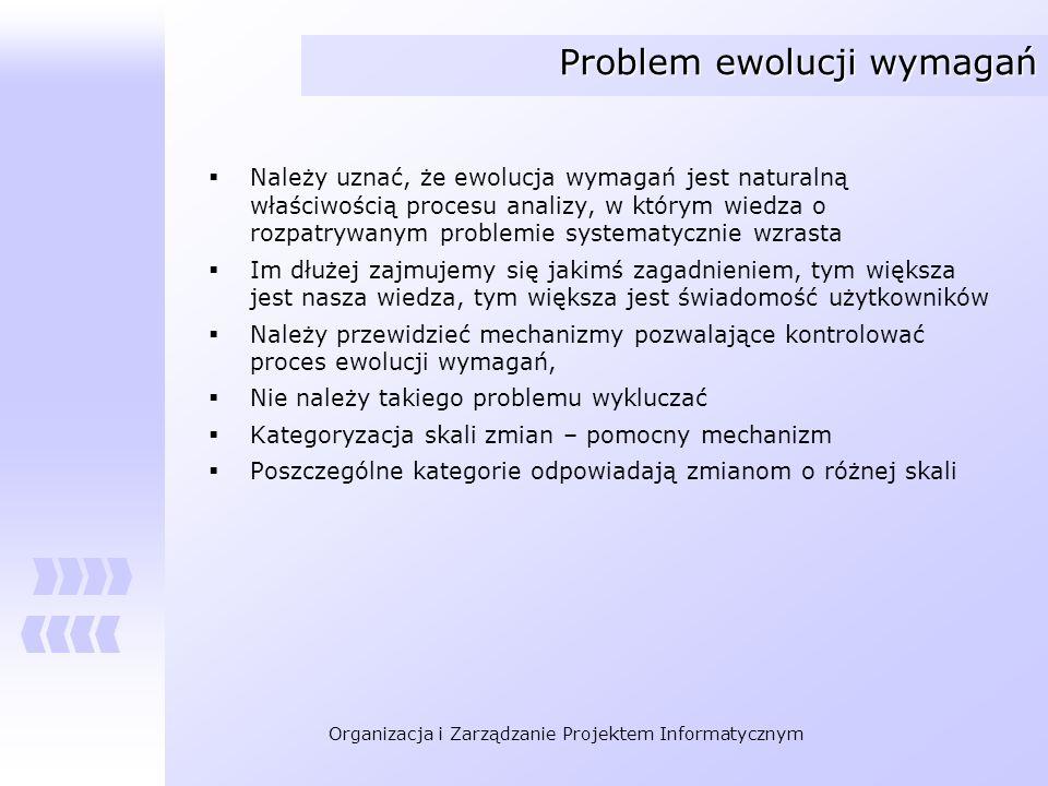 Organizacja i Zarządzanie Projektem Informatycznym Problem ewolucji wymagań Należy uznać, że ewolucja wymagań jest naturalną właściwością procesu anal