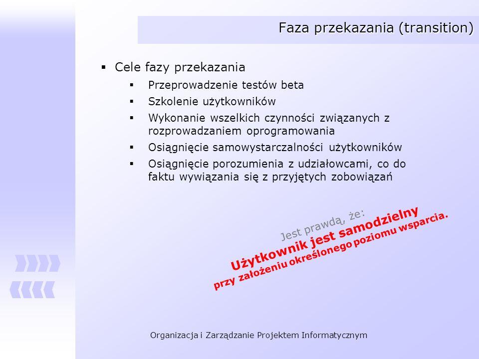 Organizacja i Zarządzanie Projektem Informatycznym Faza przekazania (transition) Cele fazy przekazania Przeprowadzenie testów beta Szkolenie użytkowni