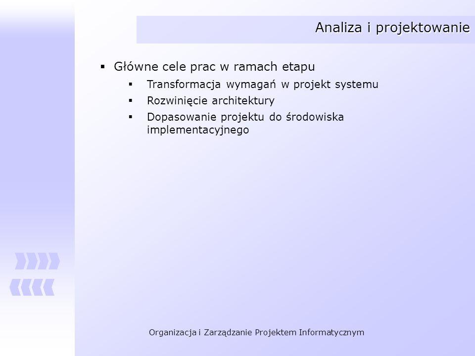 Organizacja i Zarządzanie Projektem Informatycznym Analiza i projektowanie Główne cele prac w ramach etapu Transformacja wymagań w projekt systemu Roz