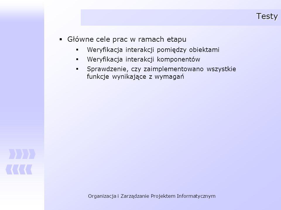 Organizacja i Zarządzanie Projektem Informatycznym Testy Główne cele prac w ramach etapu Weryfikacja interakcji pomiędzy obiektami Weryfikacja interak