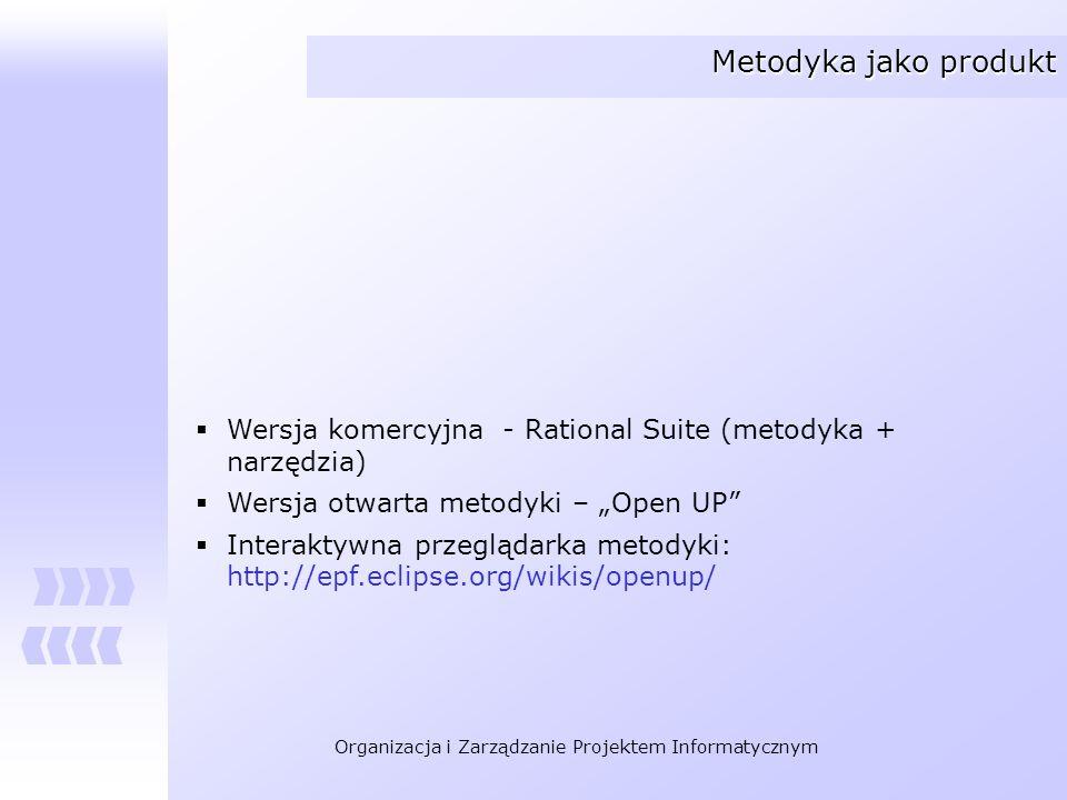 Organizacja i Zarządzanie Projektem Informatycznym Metodyka jako produkt Wersja komercyjna - Rational Suite (metodyka + narzędzia) Wersja otwarta meto