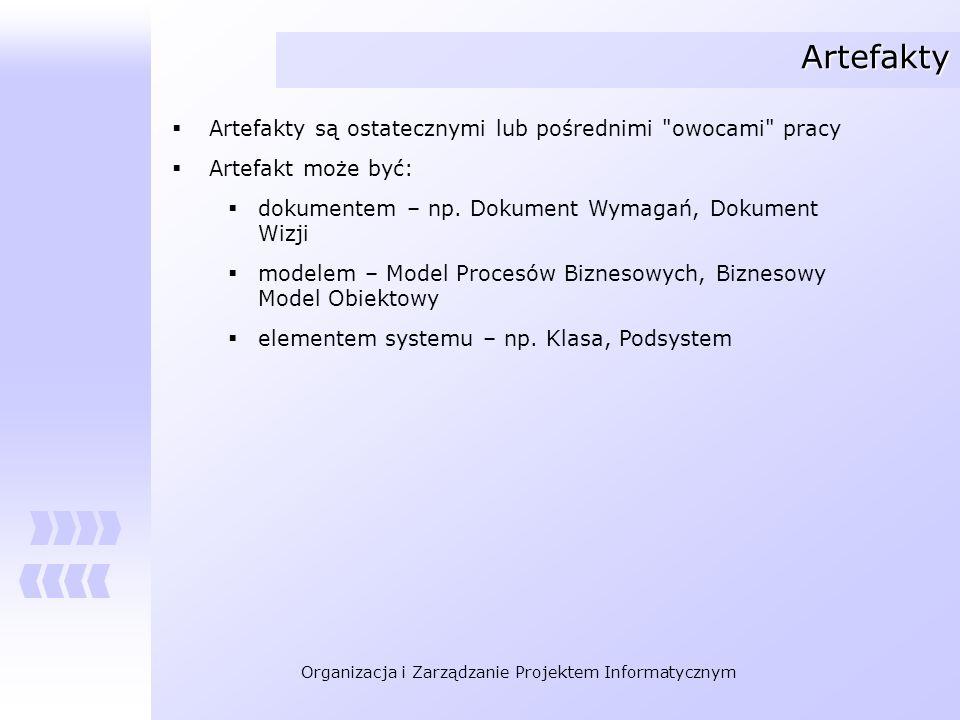 Organizacja i Zarządzanie Projektem Informatycznym Artefakty Artefakty są ostatecznymi lub pośrednimi