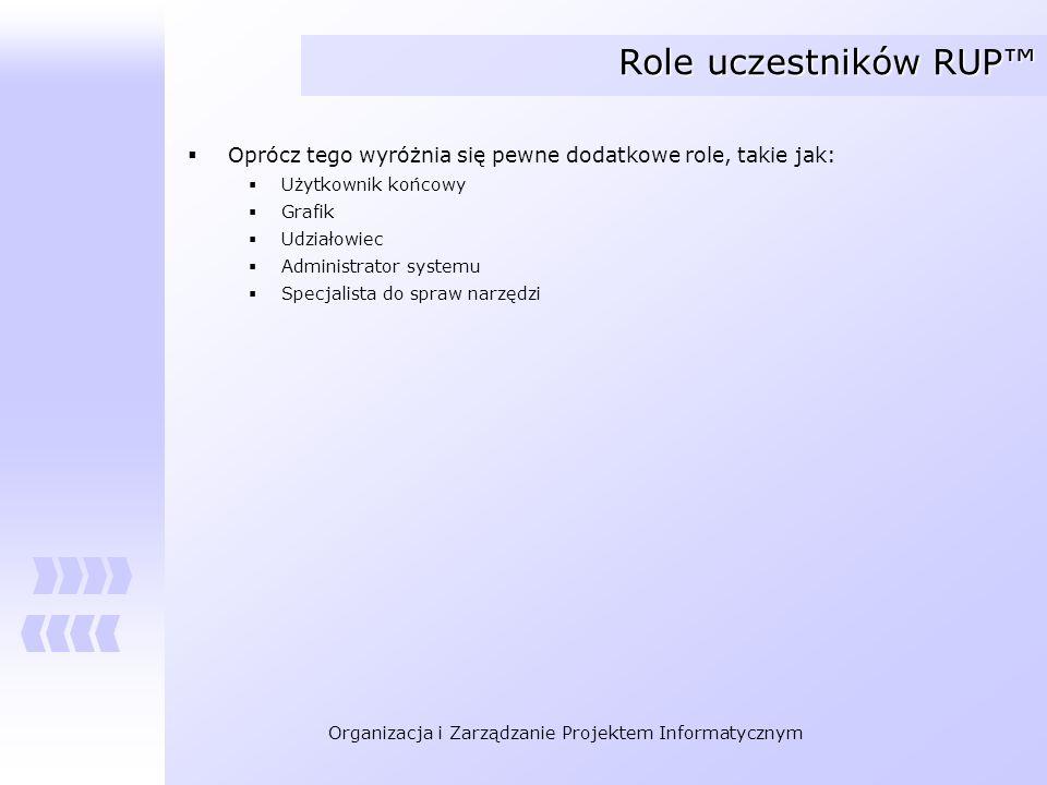 Organizacja i Zarządzanie Projektem Informatycznym Role uczestników RUP Oprócz tego wyróżnia się pewne dodatkowe role, takie jak: Użytkownik końcowy G